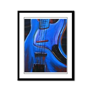 Electric Blue Bass Art Framed Panel Print